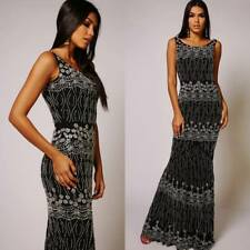 Virgos Lounge Black Flare Fishtail Body Contouring Maxi Party Occasion Dress