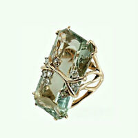 18K Gold Plated Natural Peridot Ring Wedding Engagement Jewelry Party Size 6-10