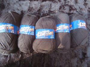 Vintage Patons Knit n Save DK (5x100g). Black Knitting Wool