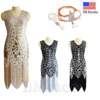 1920's Flapper Dress Great Gatsby Gown Cocktail Art Deco Sequins Fringe Dresses