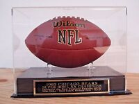 Football Display Case With A Chicago Bears Super Bowl 20 Engraved Nameplate