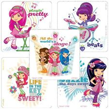 Strawberry Shortcake Stickers x 5 - Favours - Rewards - Birthday Glitter Square