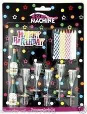 HAPPY BIRTHDAY CHAMPAGNE BOTTLE & GLASSES CANDLE CAKE DECORATING SET