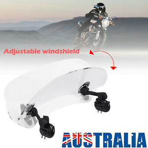 Motorcycle Clear Windshield Extension Adjustable Clip On Spoiler Wind Deflector