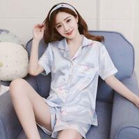 Women Pajamas Sets Summer Short Sleeve Silk satin floral homewear Sleepwear robe