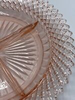 "ANCHOR HOCKING MISS AMERICA PINK DEPRESSION GLASS 8.75 ""1/4"" DIVIDED  PLATE"