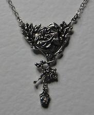 ADORABILE ART NOUVEAU STILE placcato argento donna ciondolo con vetro cristalli