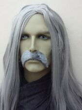 LONG MEN'S GREY FANCY DRESS WIG & THICK DROOP MOUSTACHE. SELF ADHESIVE. UK DIP