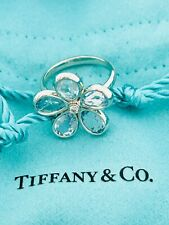 Tiffany & Co 18K WG Sparkler Garden Flower Aquamarines & Diamond Ring AU750 5