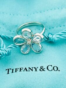 Tiffany & Co 18K WG Sparkler Garden Flower Aquamarines & Diamond Ring AU750 5