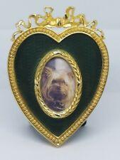 Joan Rivers Gold Tone Green Enamel Ribbon Heart Picture Frame Faberge Design