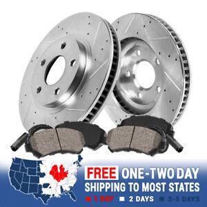 For Mercedes Benz C230 C280 SLK230 Front Drill Slot Brake Rotors & Ceramic Pads