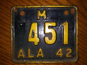 1942 alabama motorcycle license plate