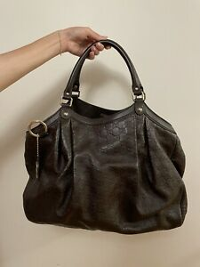 GUCCI Womens Sukey Handbag Leather Bag Purse Guccissima Logo Italy Dark Brown