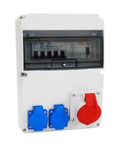 Baustromverteiler Wandverteiler Stromverteiler Komplett 16A 2x230V HL/FI/165-2