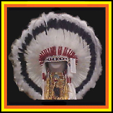"Genuine Native American Navajo 36"" Indian Headdress SILVER SHADOW Black & White"