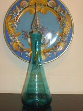 VINTAGE BISCHOFF GLASS GREEN CONTROLLED BUBBLE GLASS DECANTER TEARDROP STOPPER