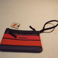 Navy orange red wristlet small bag by Dana Buchman striped NWT free shipping