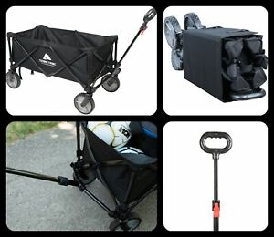 Wagon Folding Cart Collapsible Garden Beach Utility Outdoor Camping Sports Black