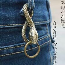 Brass Snake Boa Shape Key Chain Ring Buckle Pendant Gadget Bauble Aglet