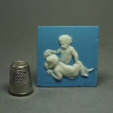 18th Century Miniature Wedgwood Solid Jasperware Plaque Bacchanalian Putti 1790