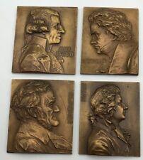 FRANZ  STIASNY Bronze Medal Beethoven Mozart Wagner & Hayden Composer Plaques