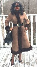 Designer Antartex sheepskin Shearling lined brown leather coat, Jacket S 0-2