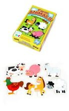 Toddler Puzzle 6x 2 Piece Farm Animal Shaped Puzzles Wooden Toy 2 years+