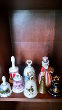 N American collectible Bells lot of 8 of porcelain ceramic Brass various Kinds