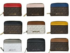 Michael Kors Jet Set Travel Medium Zip Around Card Case Wallet MK Signature