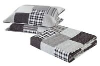 All American Collection Black and Grey Modern Plaid Bedspread and Pillow Sham Se