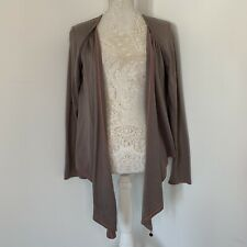 TED BAKER Khaki Brown Cashmere Blend Waterfall Cardigan Size 3 UK 12-14