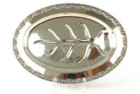 """Vtg Nat'l Silver 19"""" King Edward Silver Plate Moss Rose Tree Well Tray  (As Is)"""