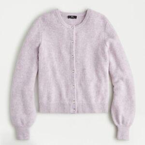 J. Crew Womens M Pink Jewel Button Front Ribbed Alpaca Wool Cardigan Sweater