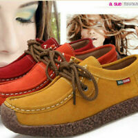 Women Ladies Suede Lace-up Flats Leather Loafer Boat Casual Moccasin Comfy Shoes