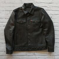 Levis Type 3 Leather Trucker Jacket Size M Black