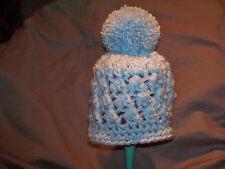 blue chunky crochet pom pom hat crochet 0-3 months