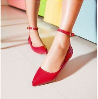 Sweet Ladies Pointy Toe Ankle Strap Flat Heel Candy Color Casual Shoes Plus Sz