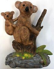 Vintage 1985 Ceramic Koala Bear Joey Cub Eucalyptus Tree Figure Figurine Statue