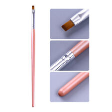 Acrylic Painting Brush UV Pen Powder Clean Nail Cuticle Cleaner Pink Handle Tool