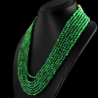 606.80 CTS EARTH MINED 7 STRAND RICH GREEN EMERALD ROUND SHAPE BEADS NECKLACE