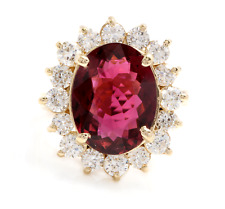 8.50 Carats Natural Tourmaline and Diamond 14K Solid Yellow Gold Ring