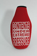 "Red ""Contents Under Extreme Pressure"" Beer Drink Holder Koozie Coozie Zip Up"