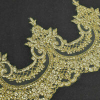 1M Embroidered Lace Trim Gold Sequins Ribbon Crochet Applique Sewing Craft DIY