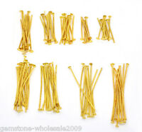 900PCS Wholesale Mixed Lots Gold Plated Flat Head Pins Findings