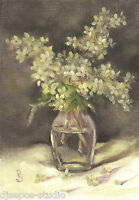 """Hydrangea Smitten"" Debra Sepos original oil 5x7 bouquet & glass vase still life"