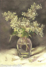 """Hydrangea Smitten"" Debra Sepos original oil 5x7 bouquet & glass vase still life"