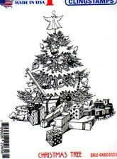 New Deep Red Rubber Stamp LGE CHRISTMAS TREE holiday winter Free usa ship cling