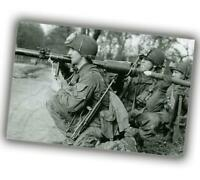 """War US airborne soldiers in Europe The weapon is a bazooka Photo """"4 x 6"""" inch Z"""