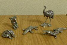 Set of 5 Australian Pewter Figurines: Platypus, Echidna, Emu, Koala, Crocodile